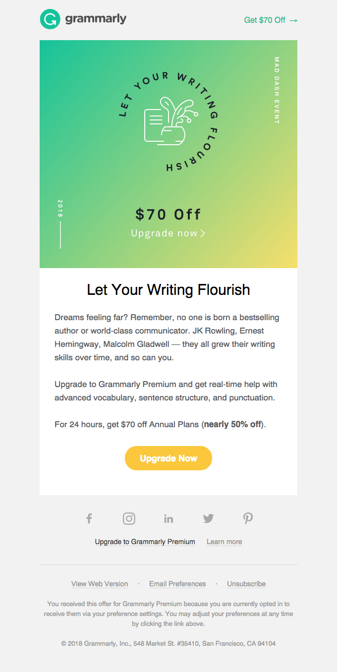 24 HRS ONLY: Grow Your Writing Skills – $70 OFF Annual Plans