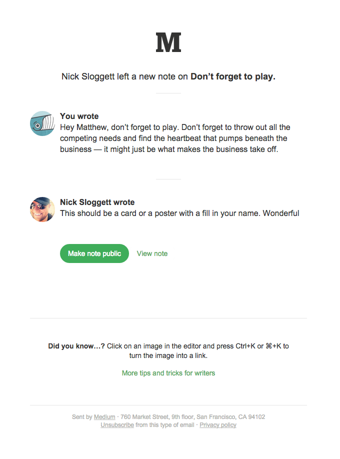 "A note was added to ""Don't forget to play."""