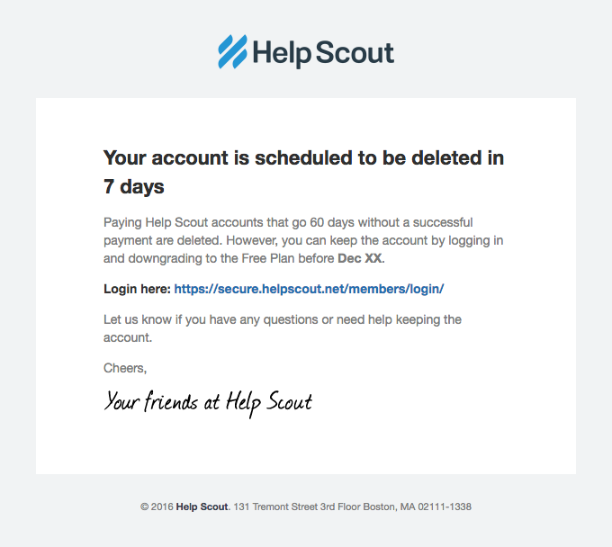 Account Scheduled for Deletion