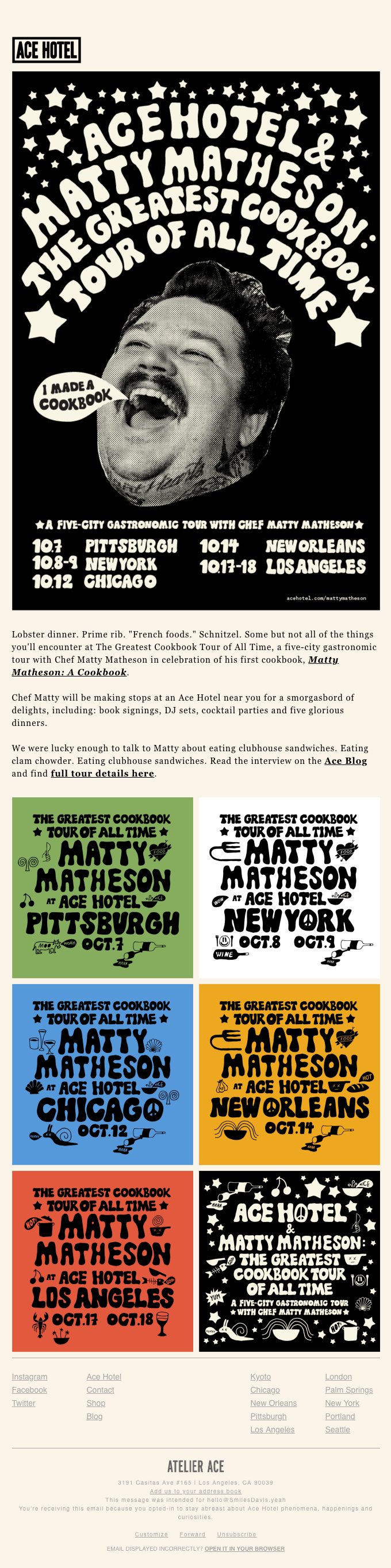 Ace Hotel x Matty Matheson: The Greatest Cookbook Tour of All Time