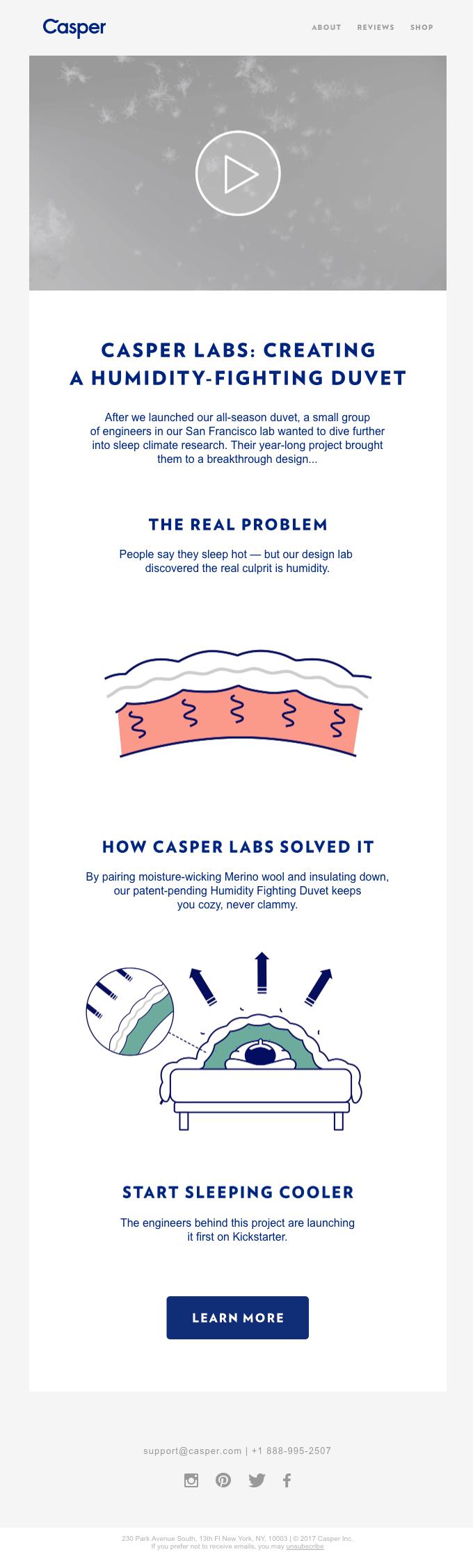 Casper Labs: Creating a Humidity-fighting Duvet