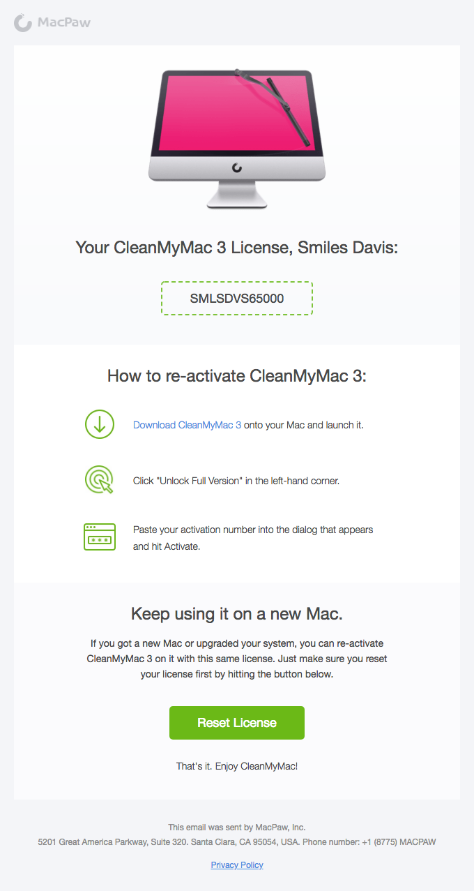 CleanMyMac 3 License Retrieval Success