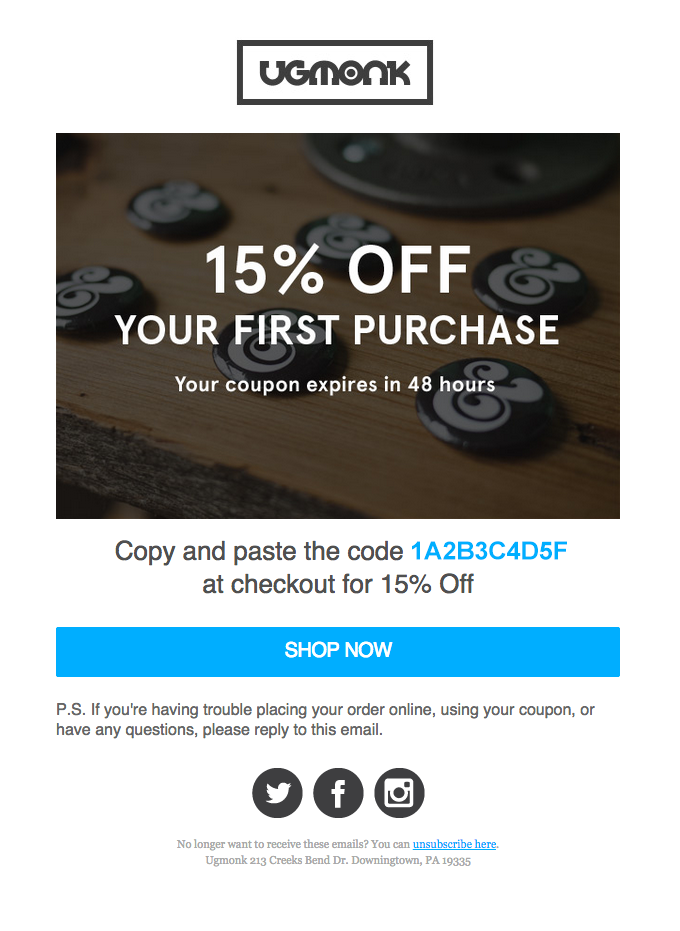 Your 15% Off Coupon Expires Soon