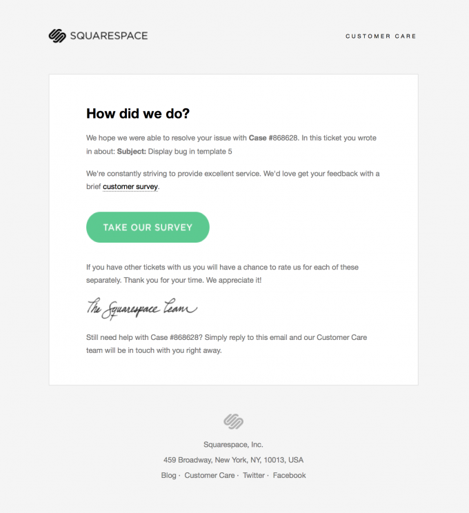 Customer Support Survey Email Design from Squarespace