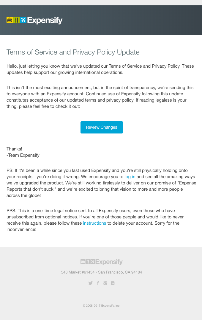 [Expensify] Terms of Service and Privacy Policy Update