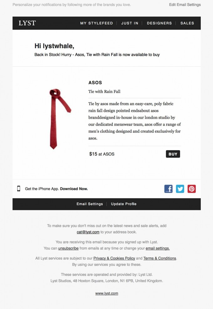 Featured Product Email Design from Lyst
