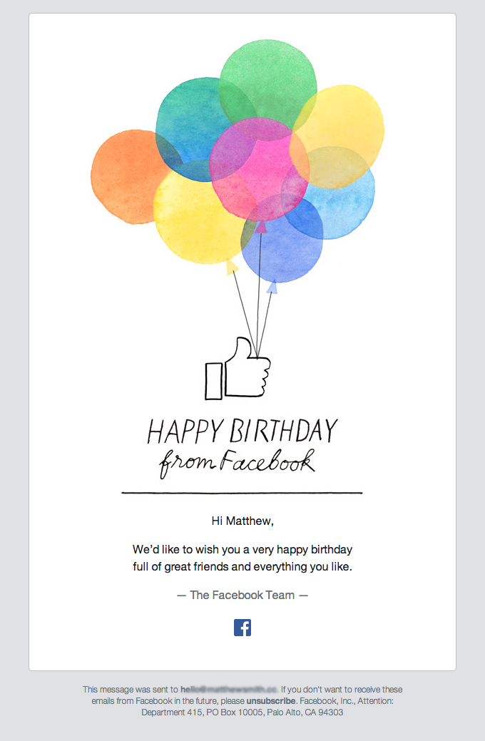 Happy Birthday From Facebook