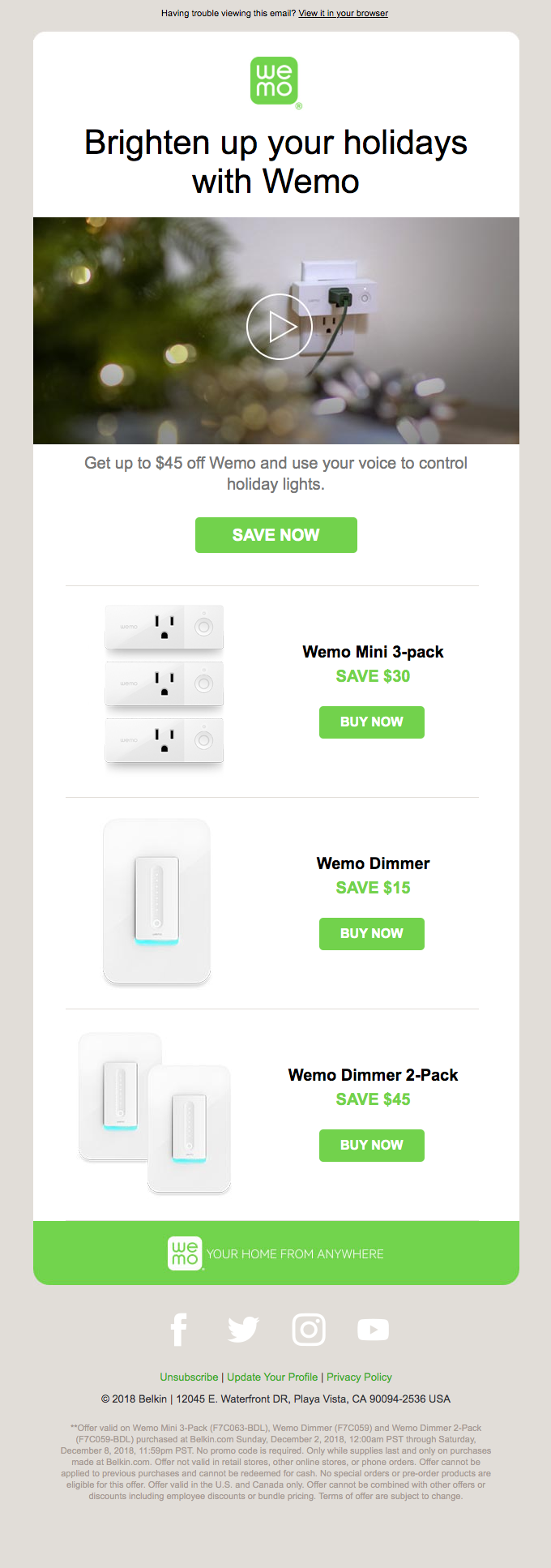 Holiday savings up to $45 off Wemo.