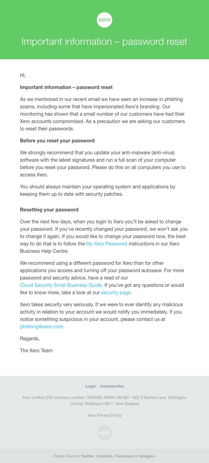 Important information – password reset