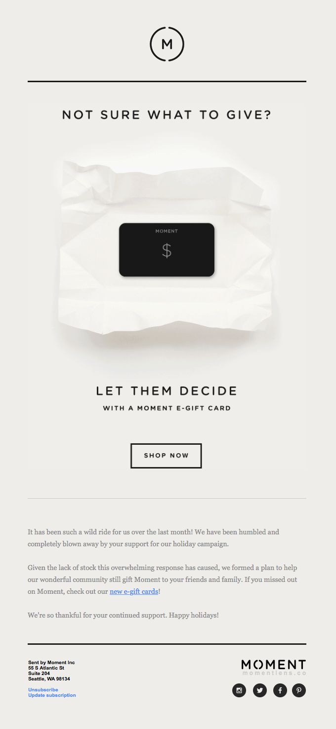Introducing Moment Gift Card