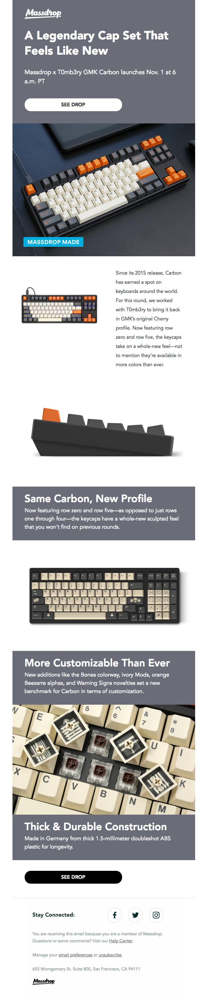 Massdrop x T0mb3ry GMK Carbon Custom Keycap Set: Available Thursday