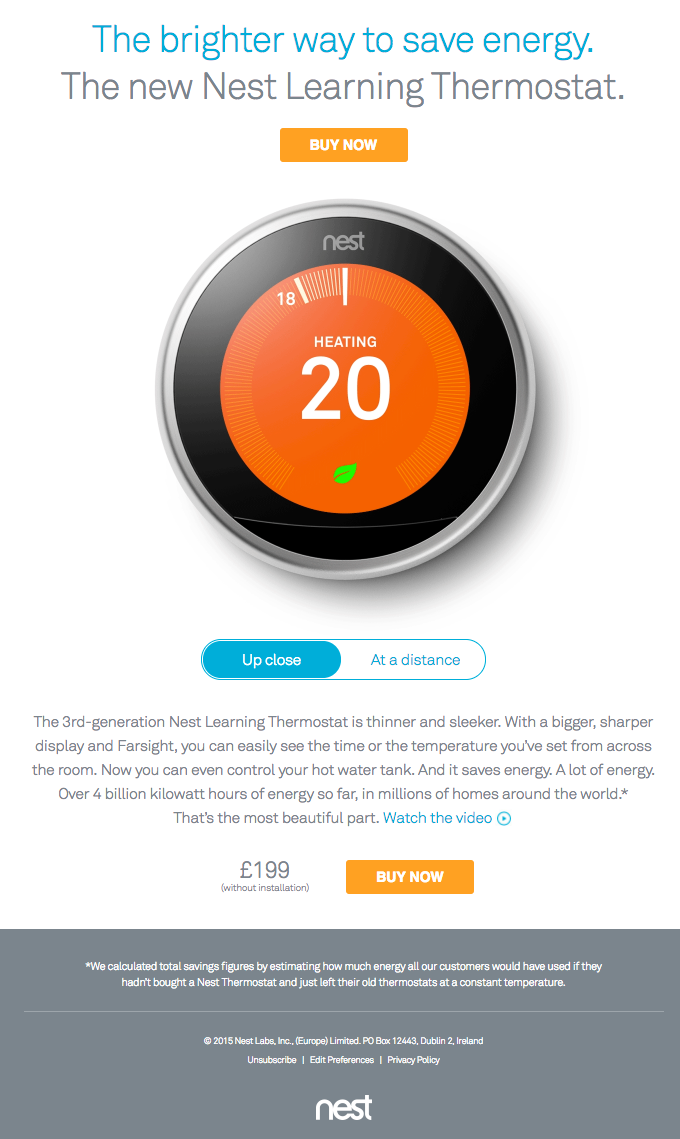 Nest Learning Thermostat – EU announcement | Really Good Emails