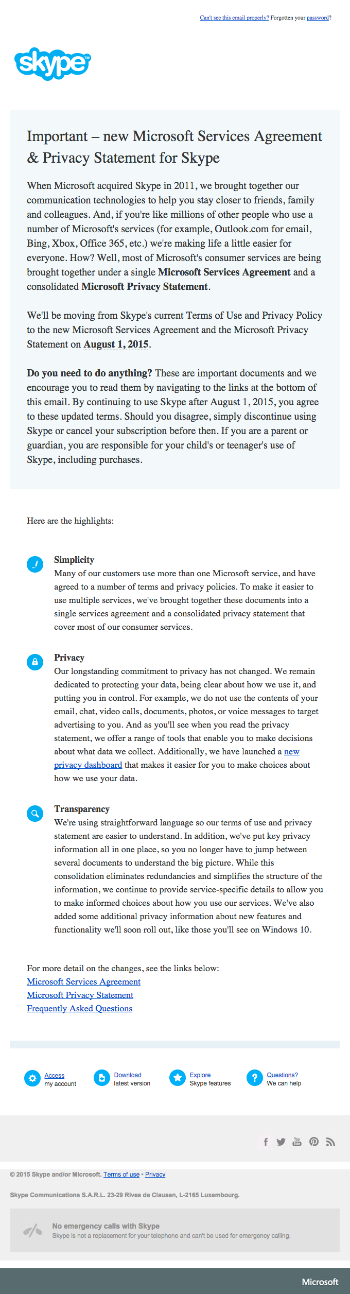Important – new Microsoft Services Agreement & Privacy Statement for Skype
