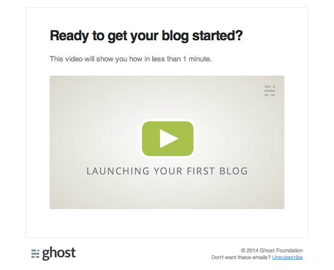 Onboarding Email Design from Ghost
