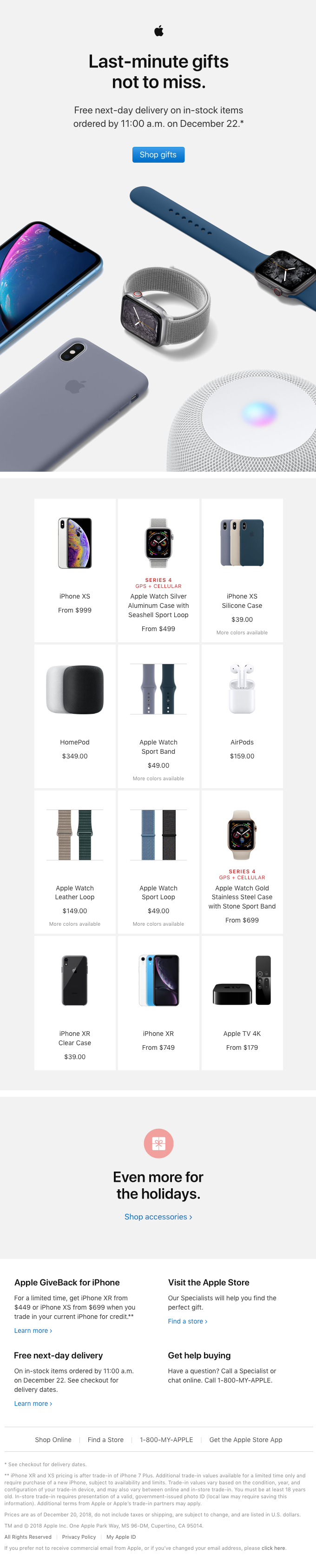 Order last-minute gifts from Apple by December 22.