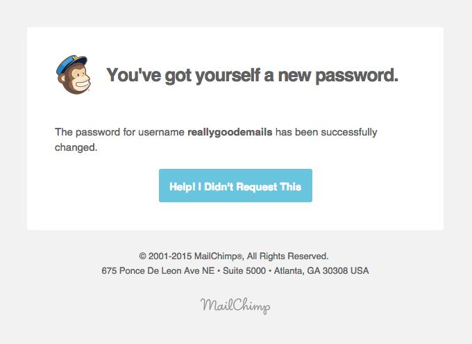 MailChimp Password Changed