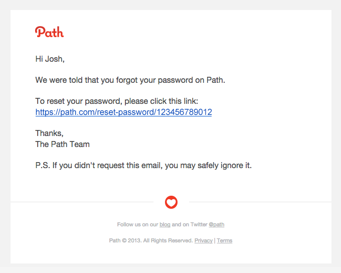 Your password on Path