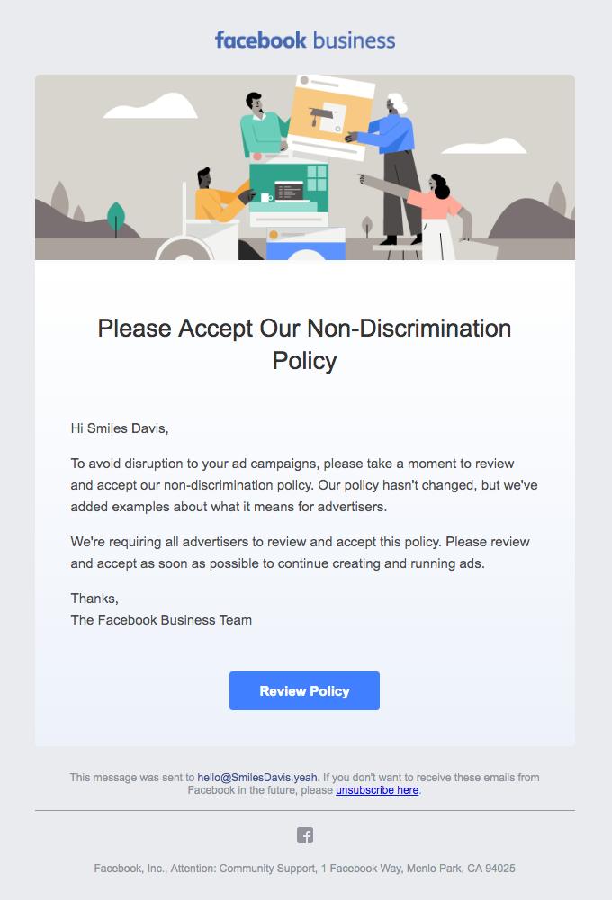 Please accept our non-discrimination policy