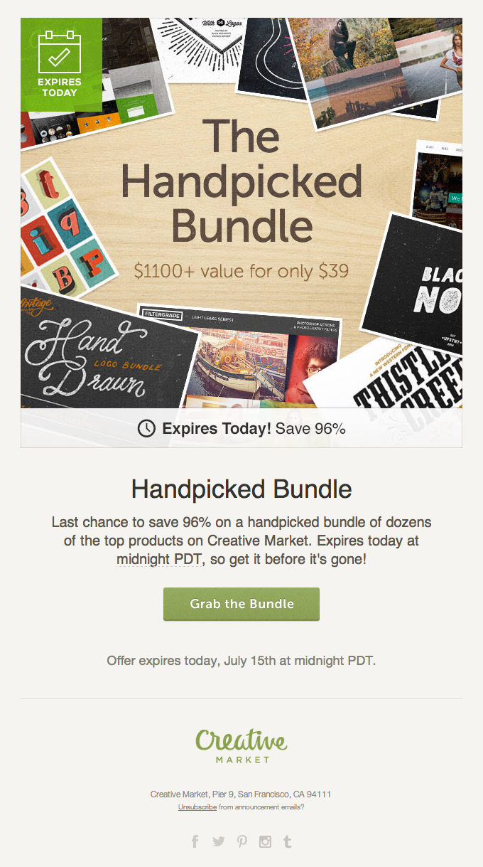 Product Special Offer with Image from Creative Market