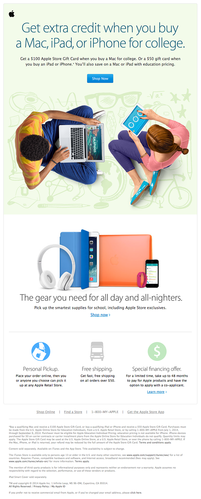 Promotional Student Email Design from Apple