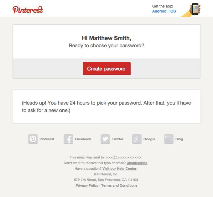 Reset your password on Pinterest