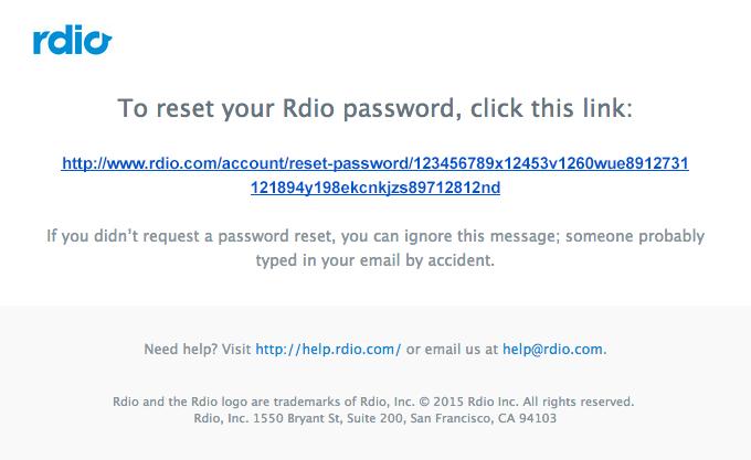 Resetting your Rdio password