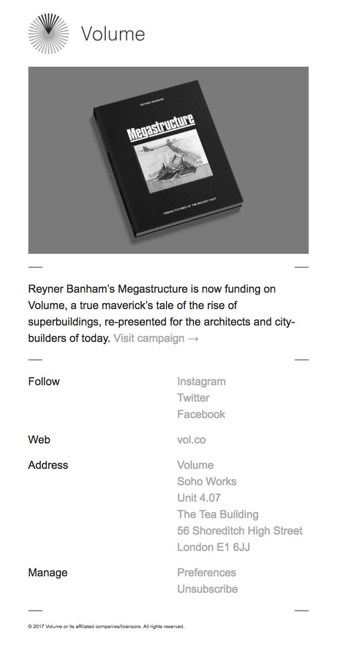 Reyner Banham's Megastructure is now funding on Volume