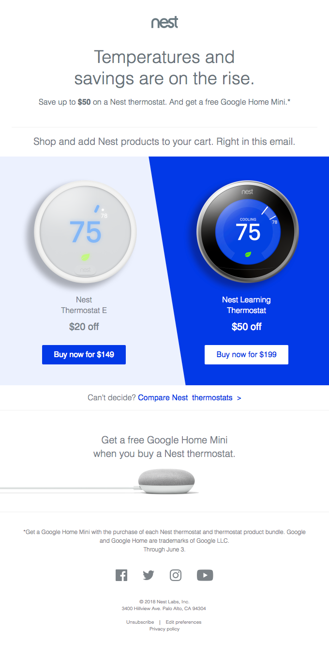 Save on a Nest thermostat this Memorial Day. And get a free Google Home Mini.