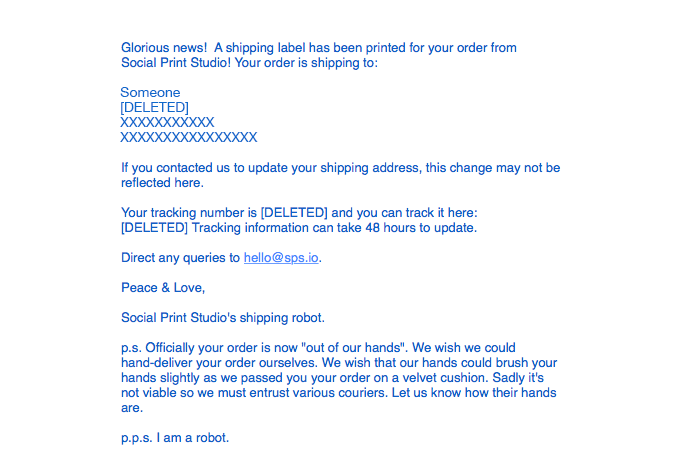 A Shipping Confirmation You Might Enjoy