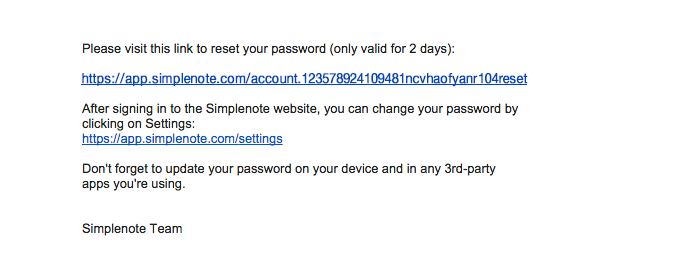SimpleNote Password Reset