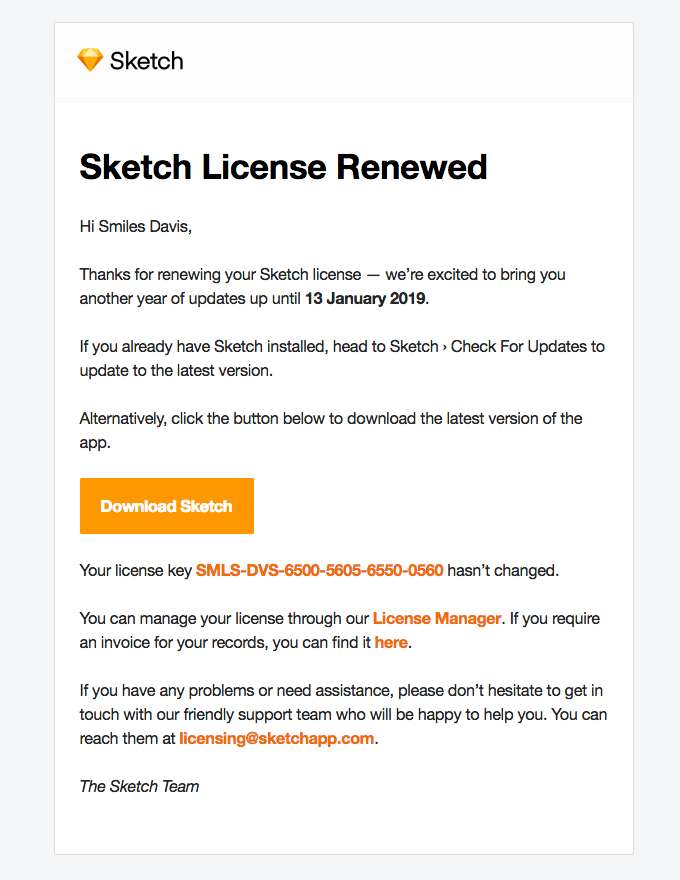 Sketch License Renewed