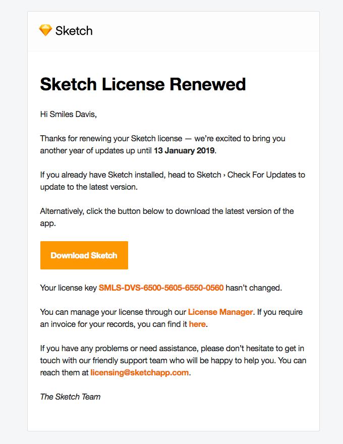 Sketch License Renewed | Really Good Emails