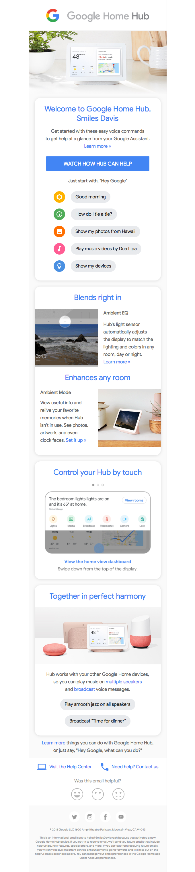 Smiles Davis, welcome to your Google Home Hub