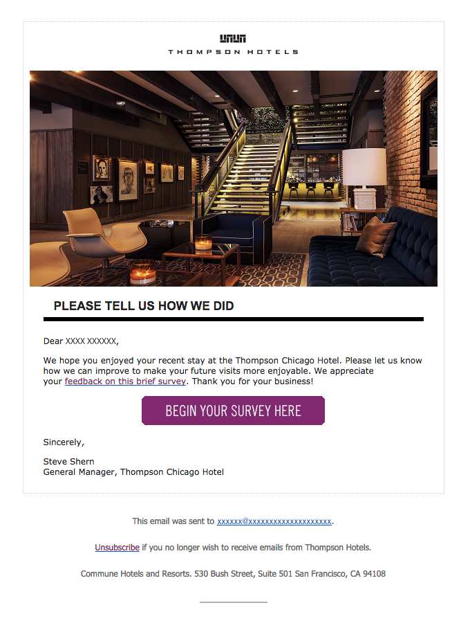 Thompson Chicago Hotel – Thank You for Your Recent Stay