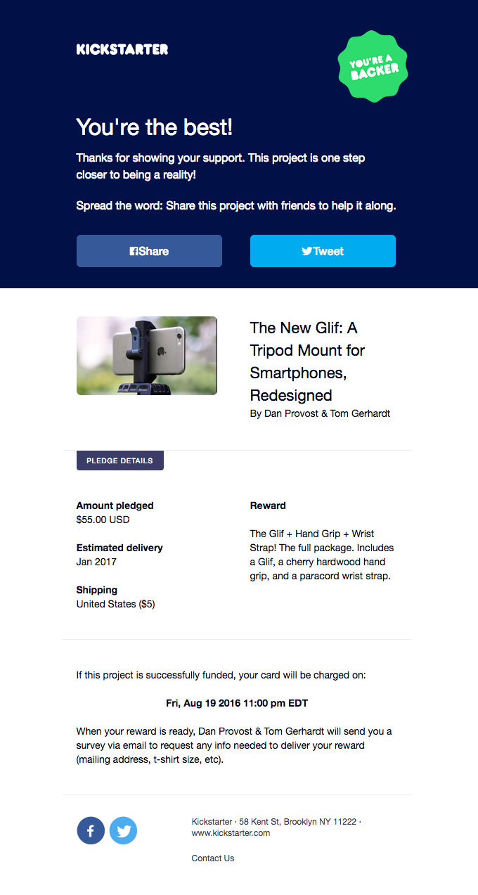 Thanks for backing The New Glif: A Tripod Mount for Smartphones, Redesigned by Dan Provost