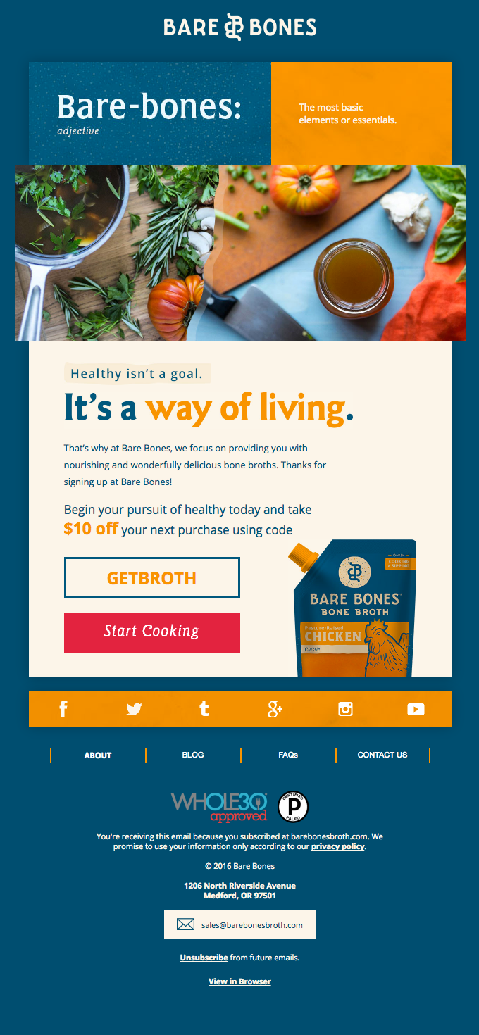 Thanks for signing up at Bare Bones Broth!