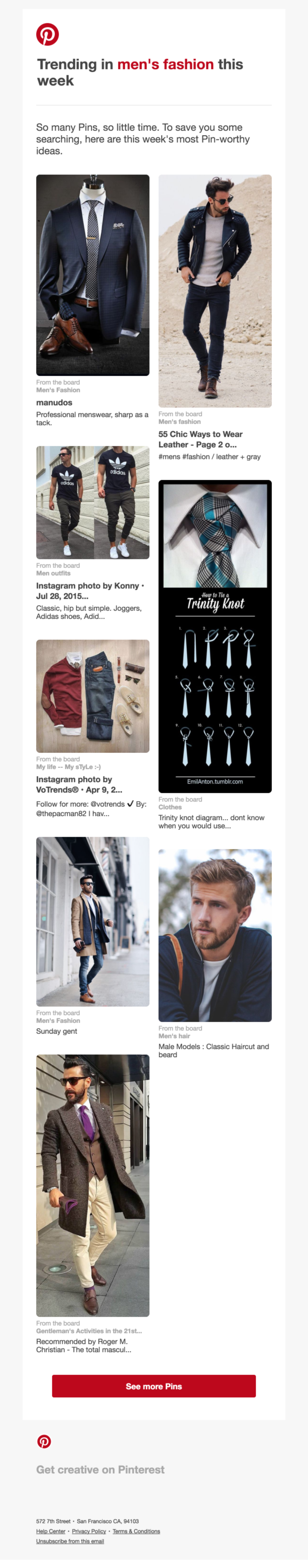 Top 8 trending Pins in men's fashion