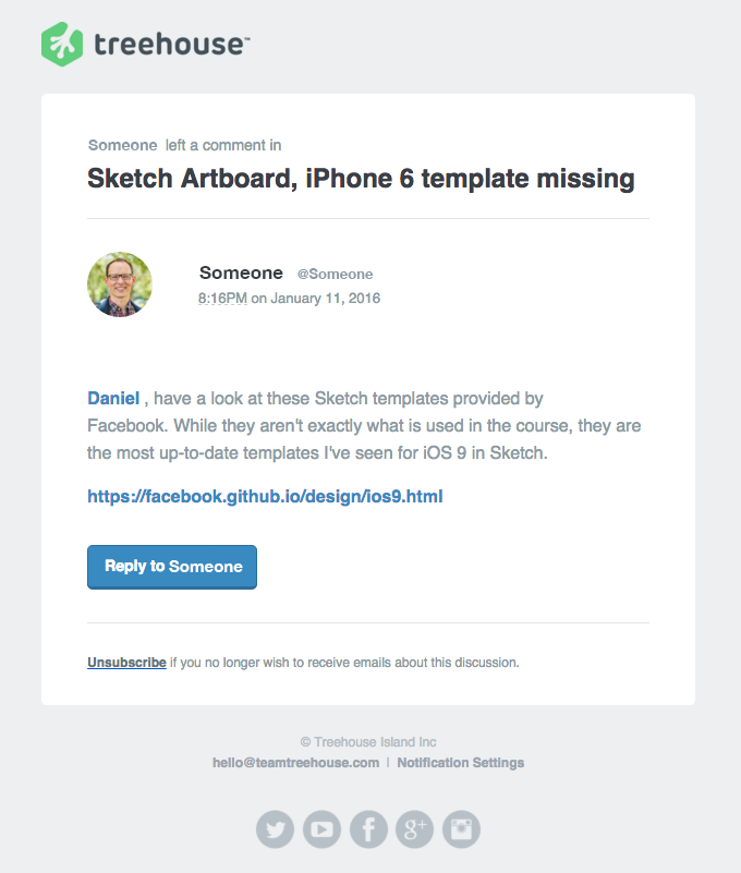 Treehouse Community Response: Sketch Artboard, iPhone 6 template missing