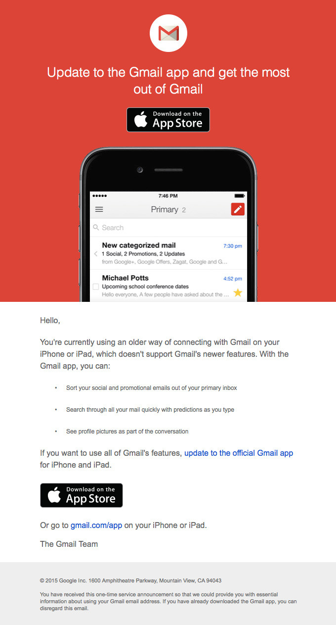 Update to the latest version of Gmail on your mobile device