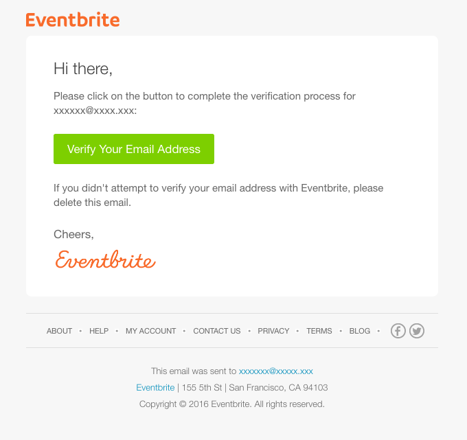 Verify your email address with Eventbrite