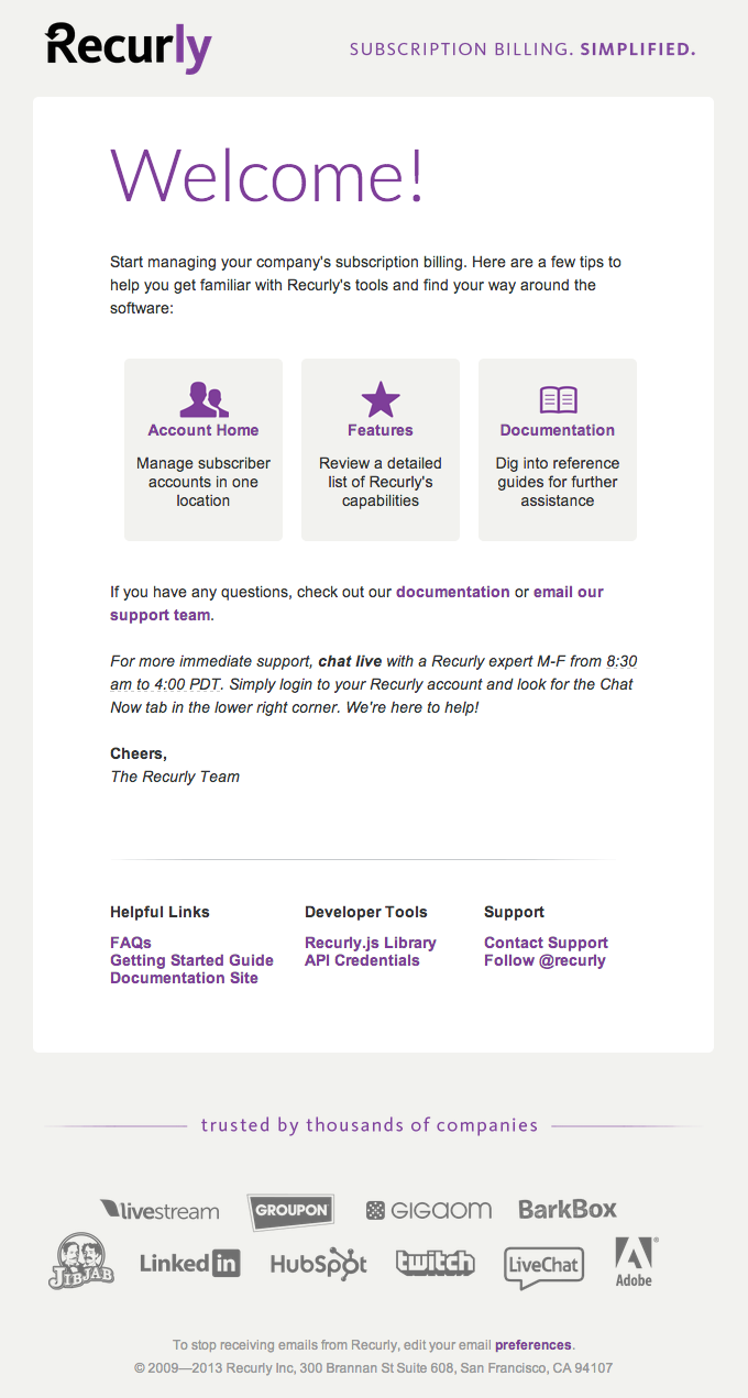 Welcome Email Design from Recurly