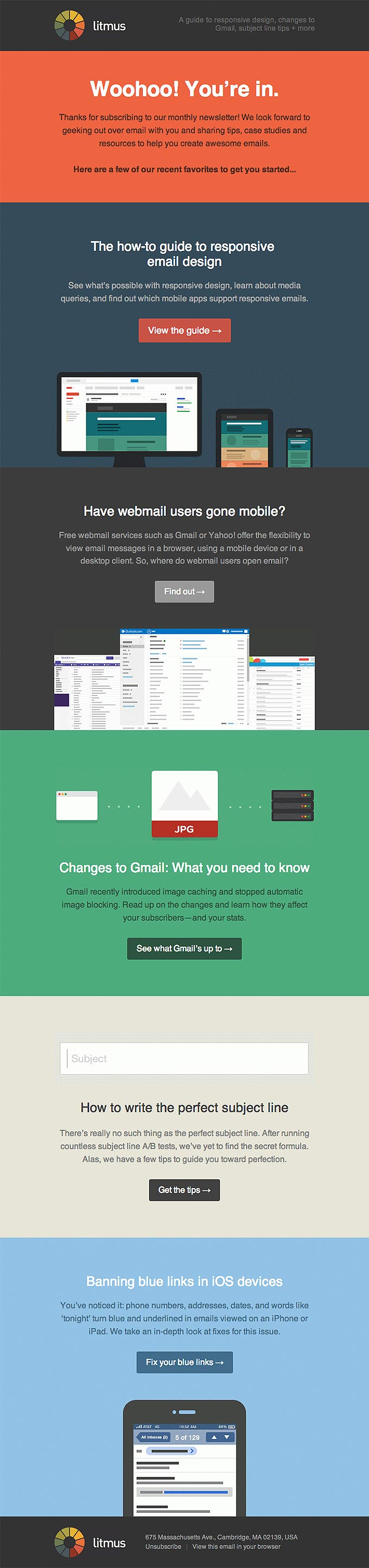 Welcome Email Newsletter Design from Litmus