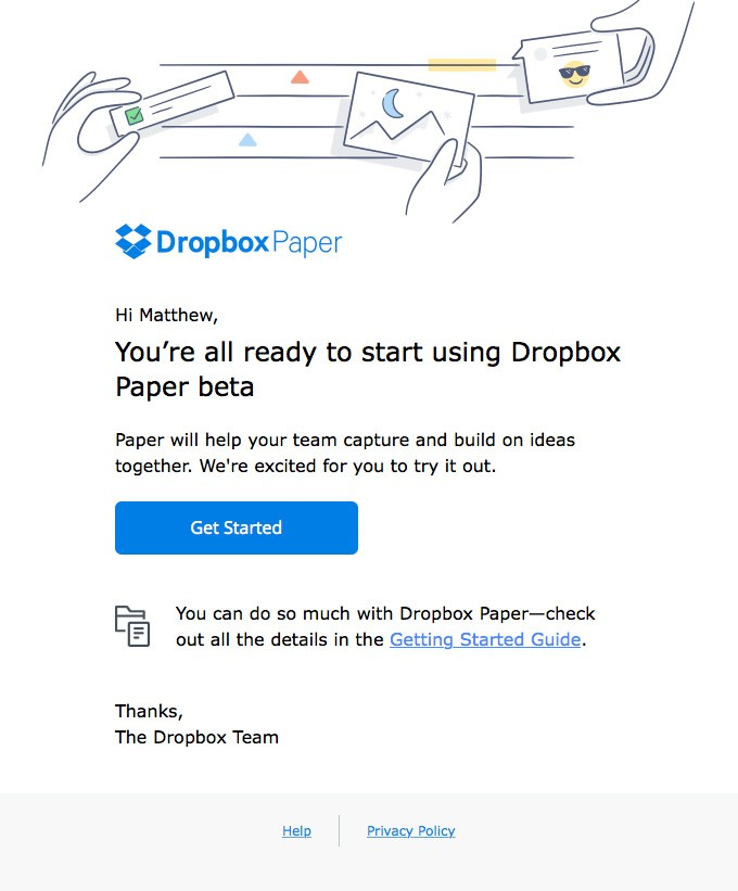 Welcome to Dropbox Paper beta, Matthew