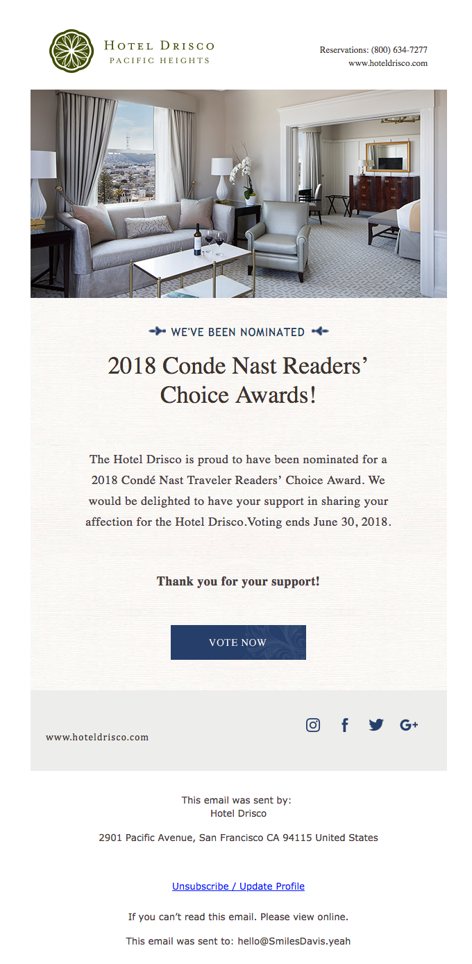 We've Been Nominated – 2018 Condé Nast Traveler's Readers' Choice Awards
