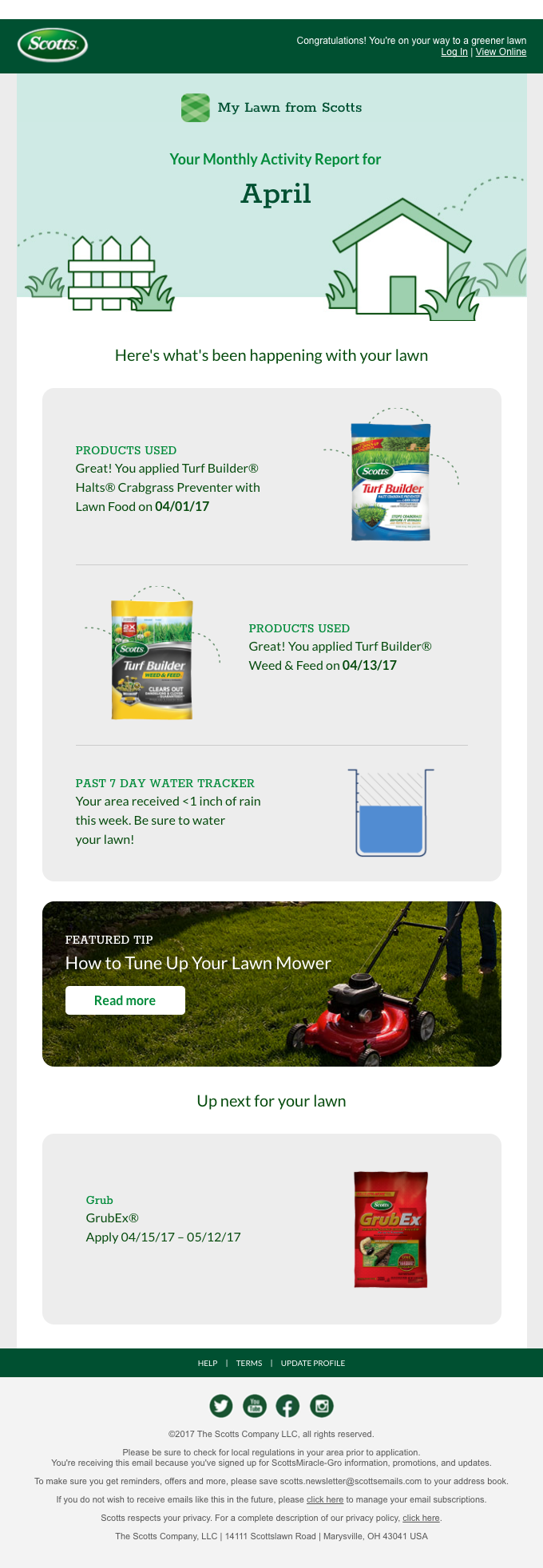 Your April My Lawn Activity Report is Ready