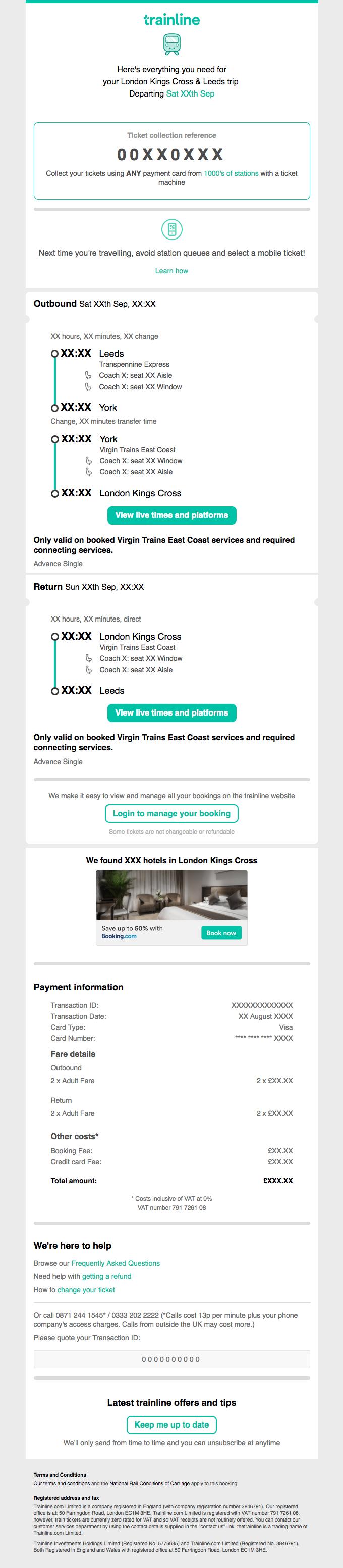 Your Booking Confirmation XXXXXXXX