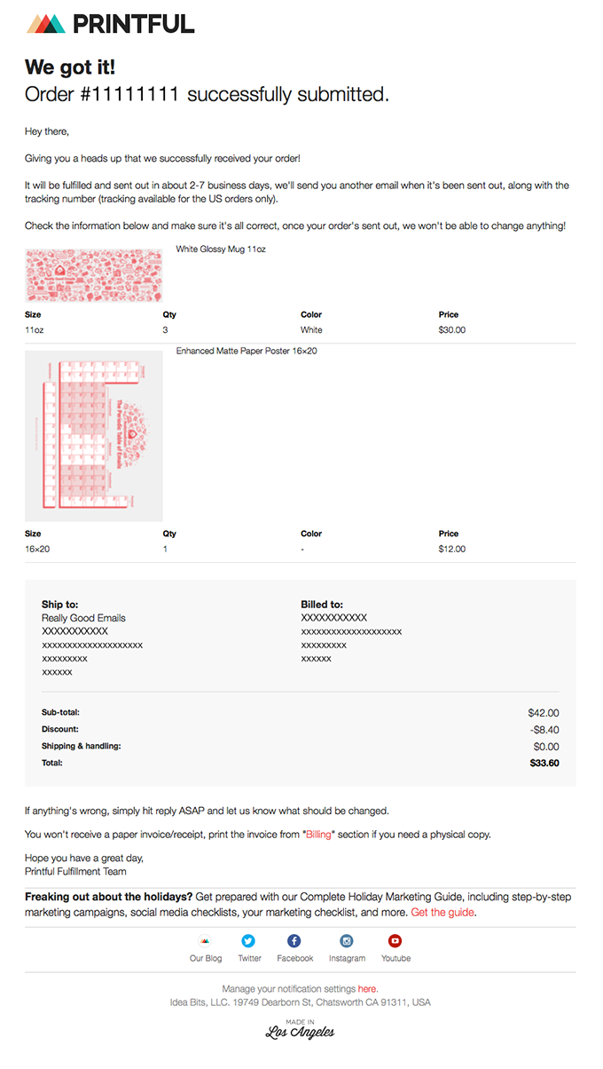 Your Printful Order #XXXXXX has been submitted