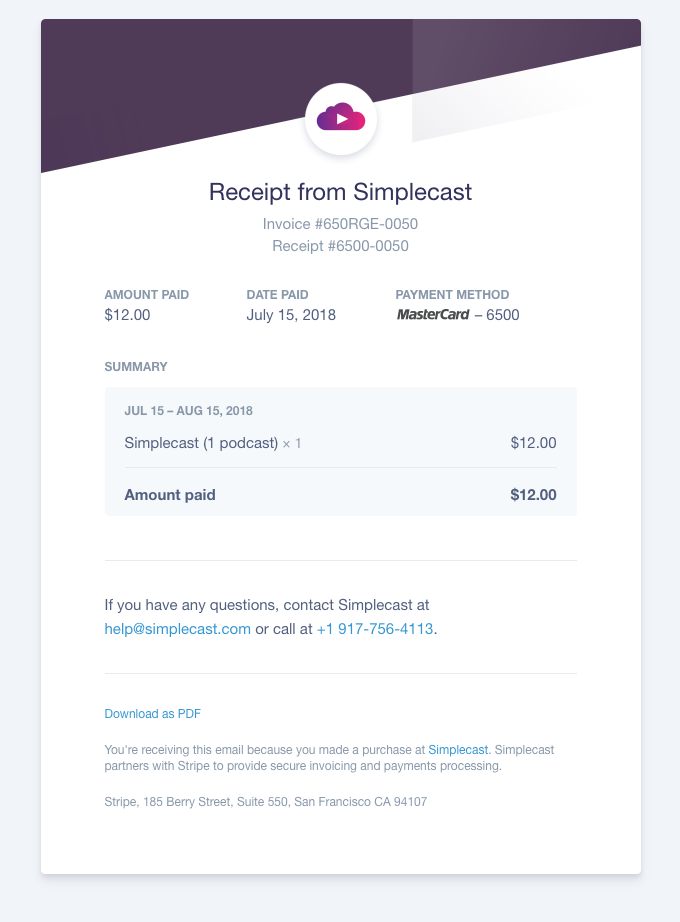 Your receipt from Simplecast #6500-0050