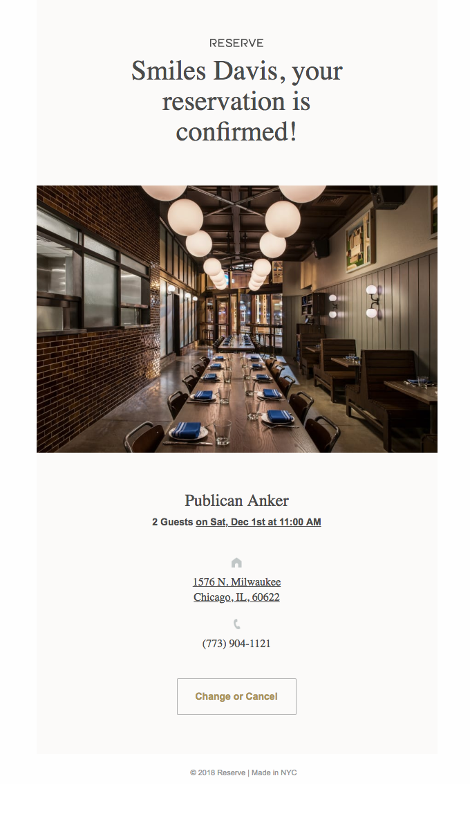 Your reservation at Publican Anker is confirmed for Saturday, December 1 at 11:00AM