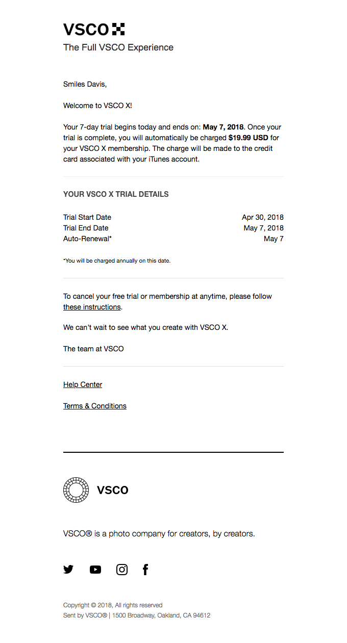 Your VSCO X Trial Receipt